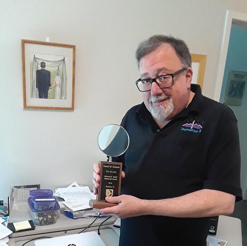 Dan Kimmel With the 2018 Skylark Award for Science Fiction