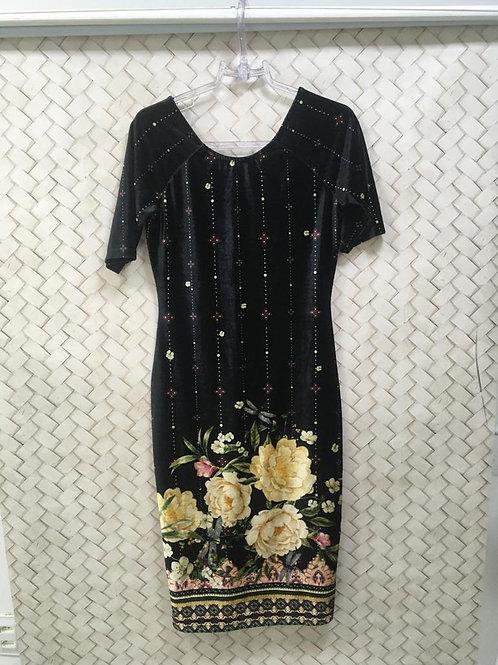 Vestido Cotelê Floral Preto BLUE STEEL