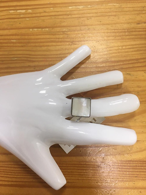 Anel Prata Pedra Branca