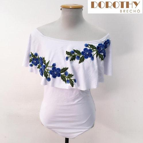 Body Branco Floral MISS SOLAR