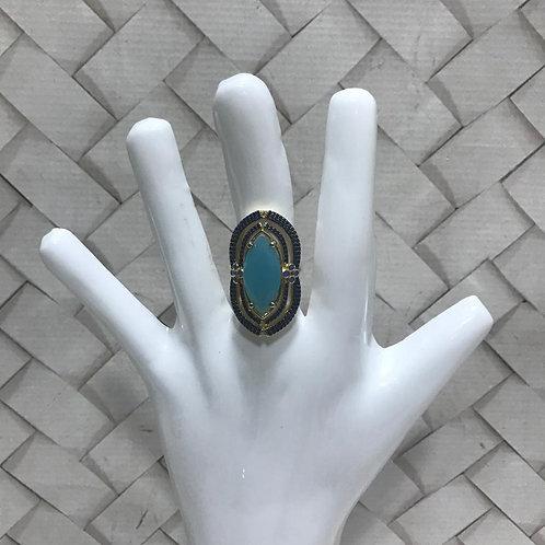 Anel G Folheado Com Pedras Azuis