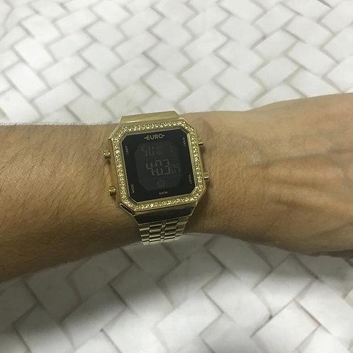 Relógio Dourado Com Pedras EURO