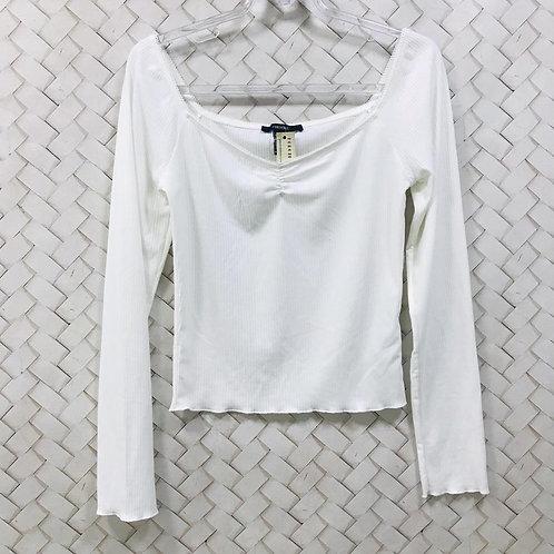 Croped Branco Canelado FOREVER21