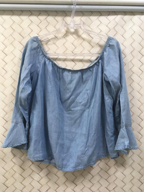 Blusa Jeans Ombro a Ombro POOL