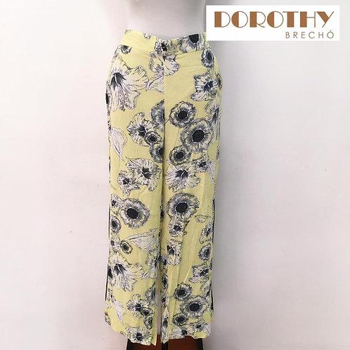 Calça Amarela Floral Viscose ZARA