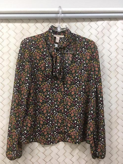 Camisa Preta Floral FOREVER 21