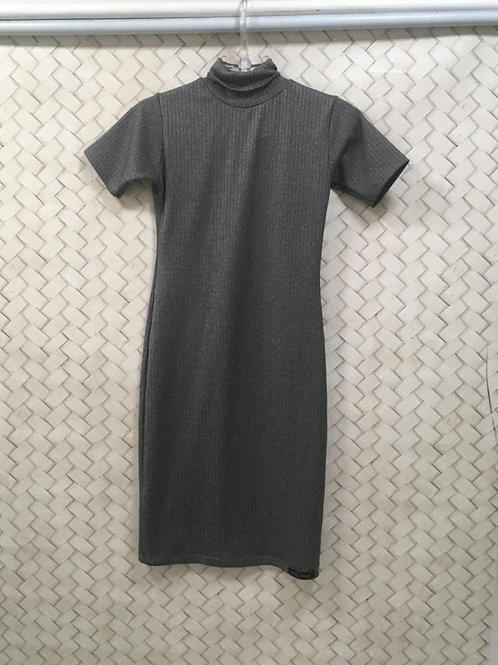 Vestido Cinza Canelado 1130