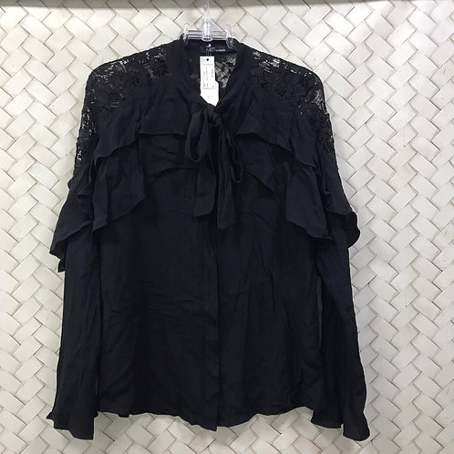 Camisa Preta Com Renda HIT