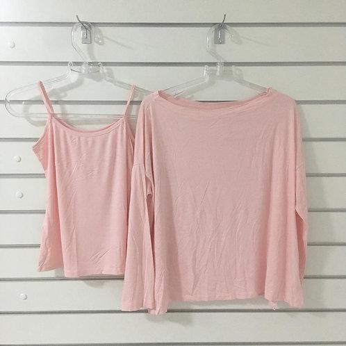 Blusa Malha Rosa 2 Peças