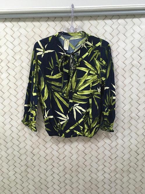 Blusa Folhagem Azul e Verde
