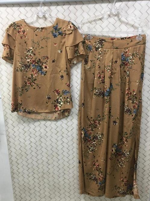 Conjunto Blusa e Calça Floral Crepe