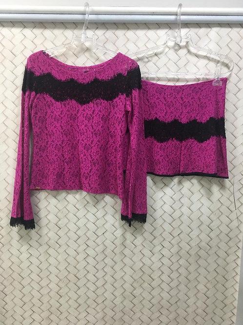 Conjunto Saia e Blusa Renda Pink S/M