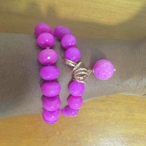 Pulseira Bolas Pink 02 Unidades