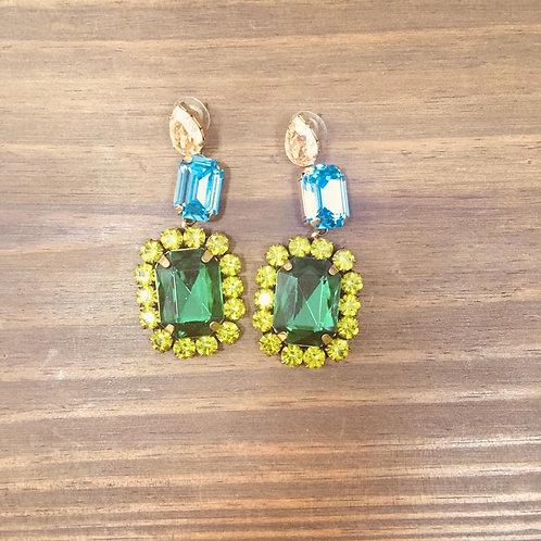 Brinco Pedra G Verde e Azul