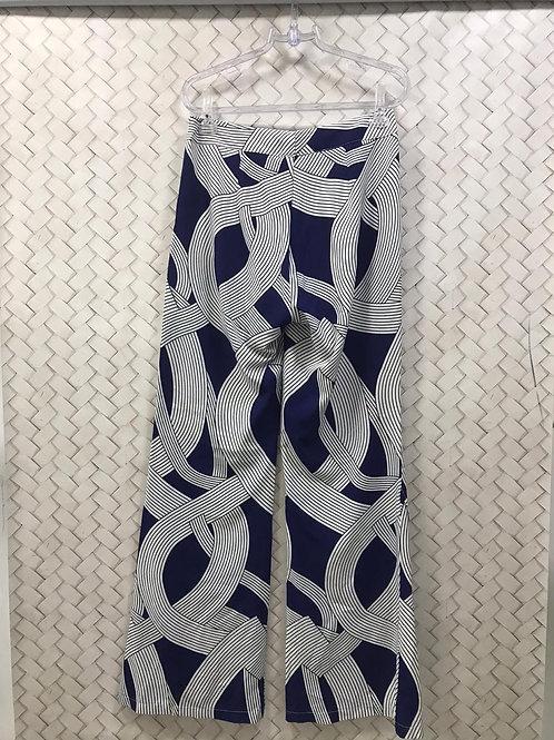 Calça Geométrica Azul e Branca