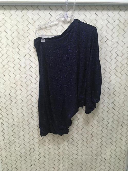 Vestido Azul Lurex Um Ombro LANÇA PERFUME