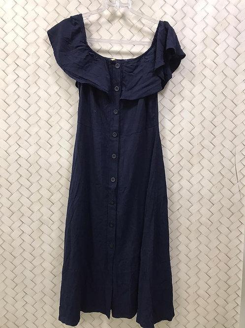 Vestido Azul Marinho Ombro a Ombro