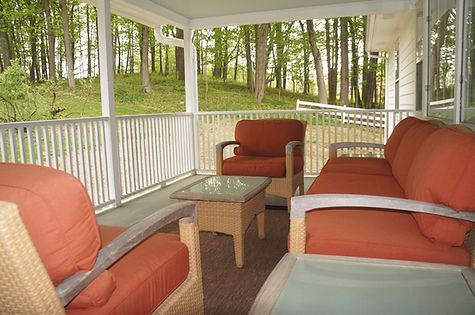 The large balcony for The Writer's Room at The Baker House Bed & Breakfast