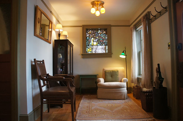 The reading alcove in the Gardener's Room at The Baker House Bed & Breakfast