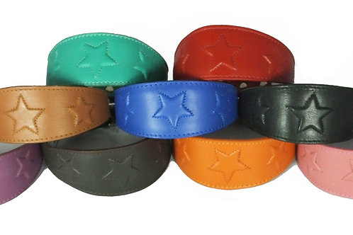 *PRE ORDER* EMBOSSED STAR LEATHER GREYHOUND COLLAR