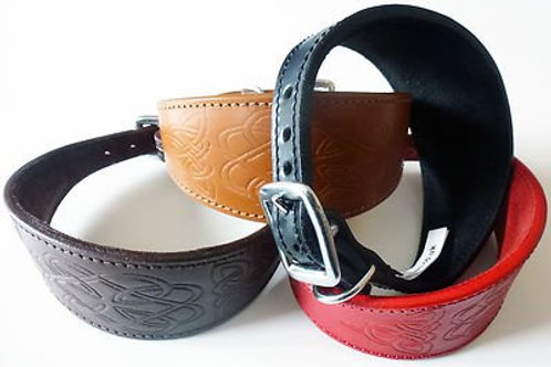 *PRE ORDER* CELTIC DESIGN EMBOSSED LEATHER  GREYHOUND COLLAR