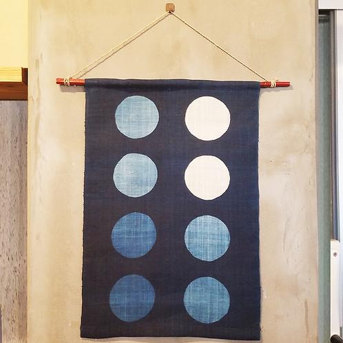 琉球藍染タペストリー 丸八竹棒