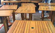 refinished outdoor restaurant tables