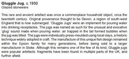 Gluggle jug museum label