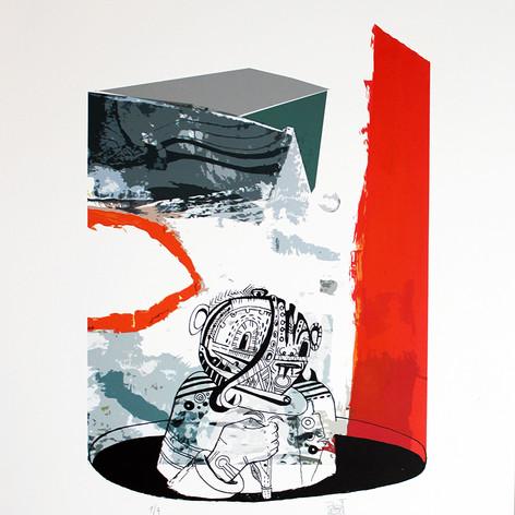 Grabados digitales impresos sobre papel Fabriano (libre de ácido), intervenidos con acuarela tempera, lápiz y algunos con serigra fía.  Las ediciones son limitadas  (1/7 a 7/7).