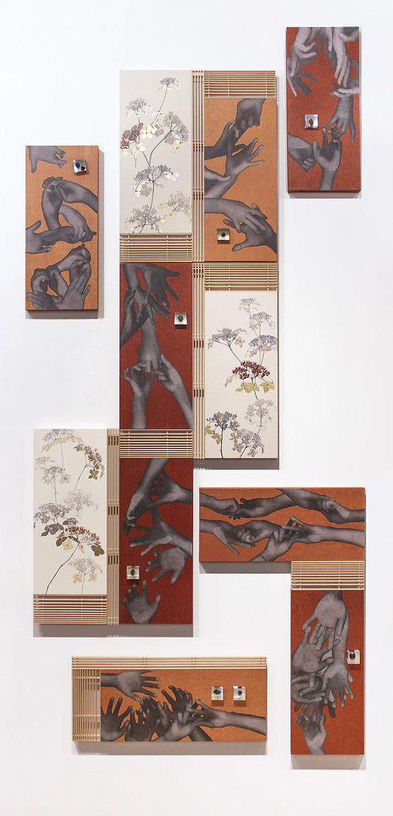 今井悠子, The Flow, 日本画, 現代アート, 柿渋, 横浜, 京都