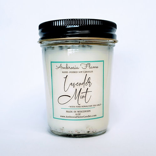 Lavender Mint Natural Scented Soy Candle 8 oz