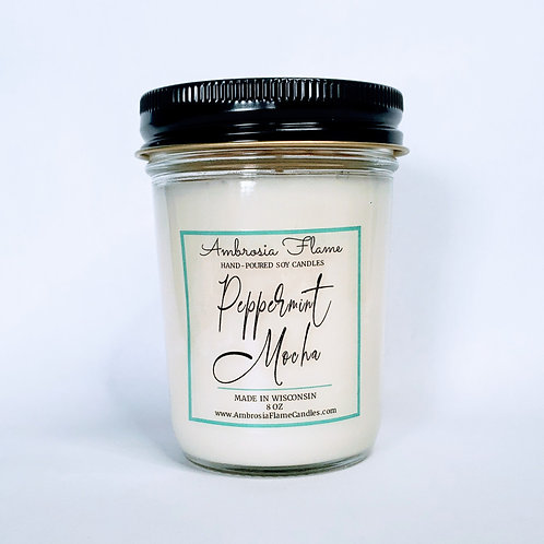 Peppermint Mocha Natural Scented Soy Candle 8 oz