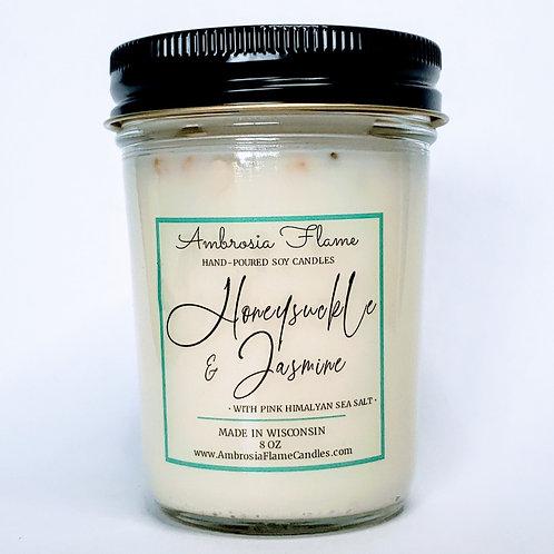 Honeysuckle & Jasmine Scented Soy Candle 8 oz