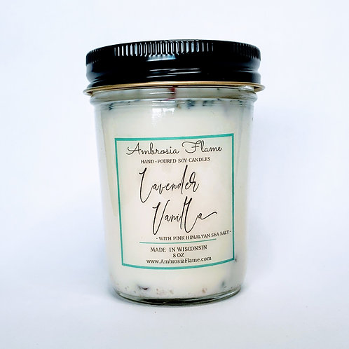 Lavender Vanilla Natural Scented Soy Candle 8 oz