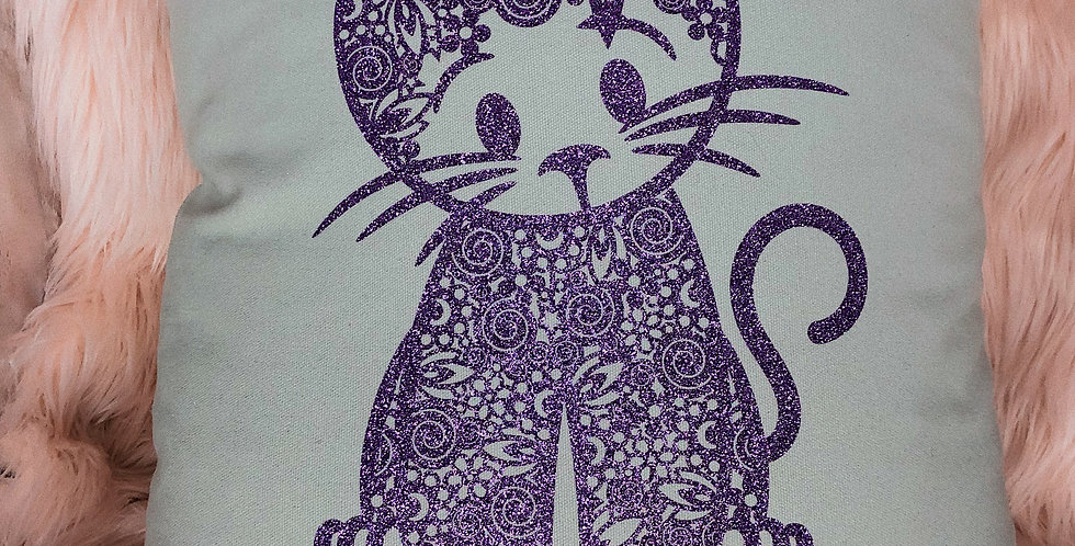 Purple Cat Cushion