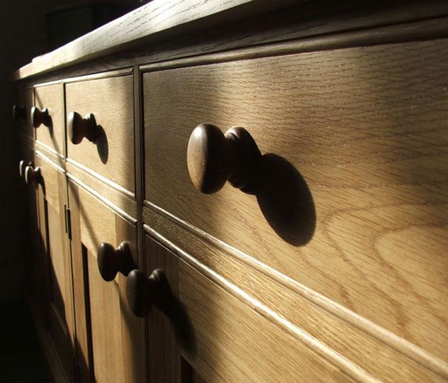 Close up of American Oak Sideboard