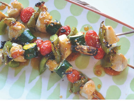 Garlic Chicken & Veg Kebabs with Apricot Relish