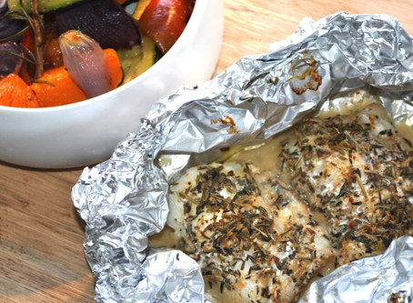 Oven Baked Fish With Roasted Vegetables