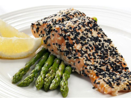 Sesame-Crusted Salmon with Asparagus