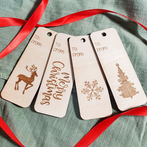 Wooden Christmas Gift Tags 🎁 - 4 Pack