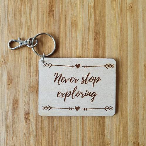 Never Stop Exploring Rectangle Bag Tag - Name
