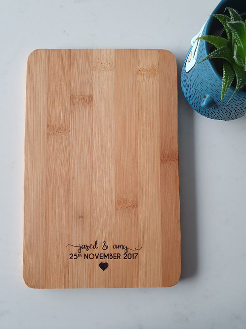 Personalised Engraved Chopping Board - Wedding Birthday Engagement Gift