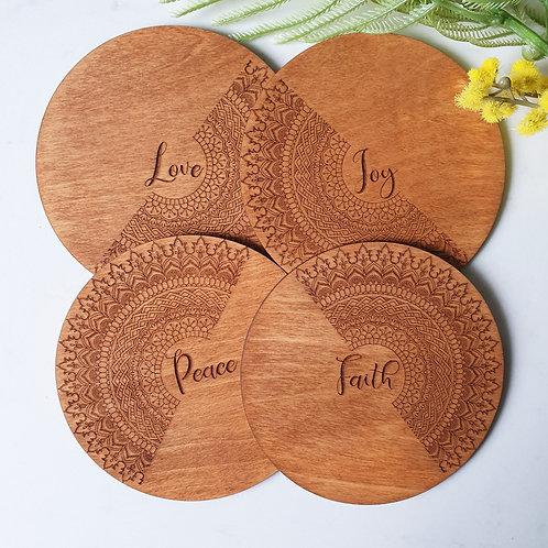Custom Words - Wood Coaster Set
