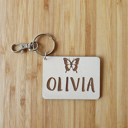 Kids Butterfly Rectangle Bag Tag - Personalised Name