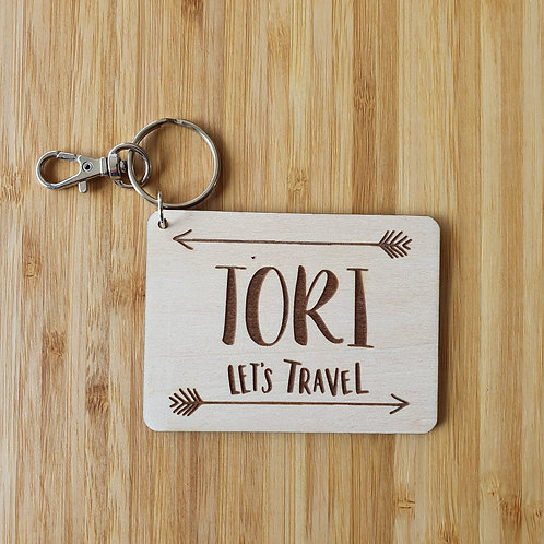 Let's Travel Rectangle Bag Tag - Personalised Name