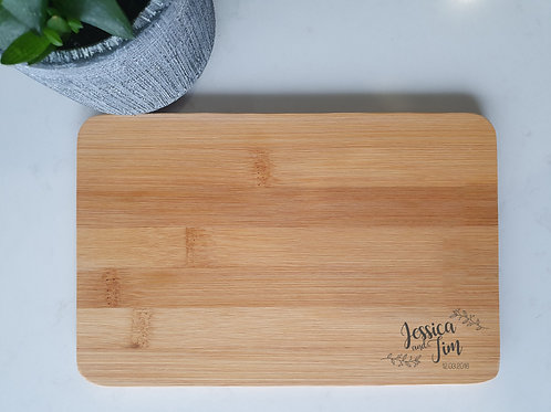 Personalised Engraved Chopping Board Style 2 - Wedding Birthday Engagement Gift