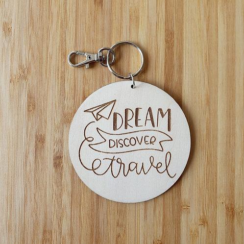 Dream Discover Travel Round Bag Tag - Name
