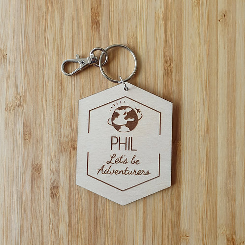 Let's Be Adventurers of Earth Hexagon Bag Tag - Personalised Name