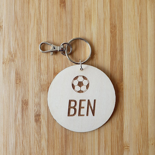Kids Soccer Ball Round Bag Tag - Personalised Name