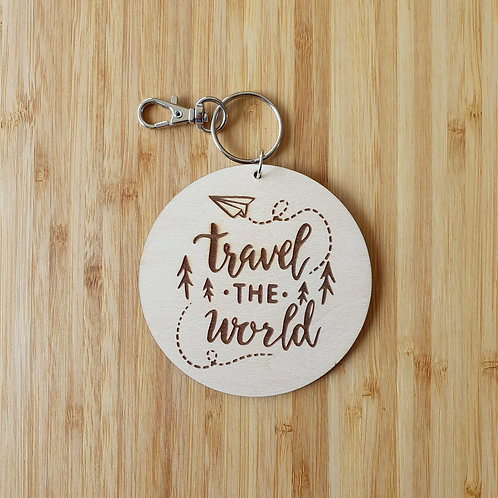Travel the World Round Bag Tag - Name